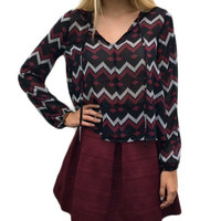 Chevron Printed Long Sleeve Blouse