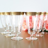 Gold Etched Iced Tea Glasses, Set Of 6 By Tiffin-Franiscan