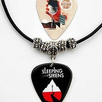 Sleeping with Sirens Black Leather Guitar Pick Necklace plus Pick