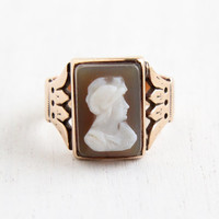 Antique 10k Rose Gold Roman Warrior Cameo Ring - Victorian Size 11 3/4 Carved Shell Men's Fine Jewelry