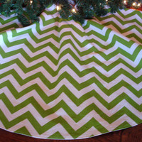 Chevron Christmas Tree Skirt, Green and White Tree Skirt, Green Chevron, Contemporary Tree Skirt