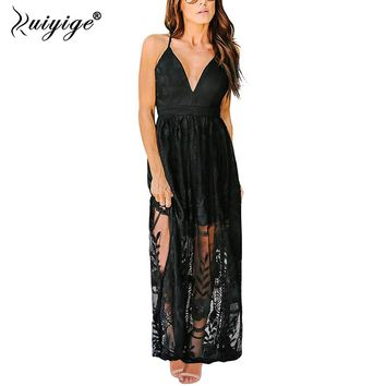 Ruiyige Sexy Deep V Lace Summer Maxi Dress Backless Hollow Out Women Party Dresses 2018 Spaghetti Strap Mesh Long Bench Vestidos