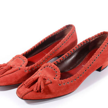 90s Vintage Prada Suede Loafers Burnt Orange Tan Tassel Slip On Flats Minimalist Retro Made in Italy Women Size US 6.5 UK 4.5 EUR 37 Narrow