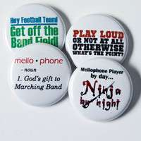 Mellophone Ninja plus three Marching Band Buttons or Magnets size one inch