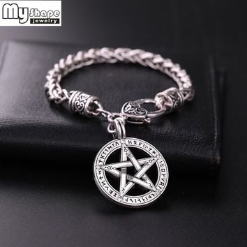 my shape Viking Runes Supernatural Pentacle Pentagram Pendant Men Necklace Witch Protection Star Amulet Bracelets