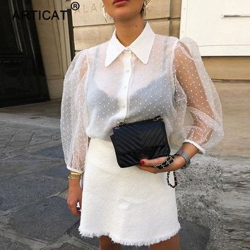 Articat White Transparent Chiffon Blouse Women 2019 Puff Sleeve Turn-down Collar Buttons Summer Blusas Shirt Office Ladies Blusa