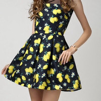 Sleeveless Summer Dress With Lemon Print