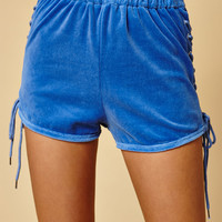 Honey Punch Blue Side Lace-Up Jogger Shorts at PacSun.com