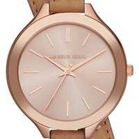 Michael Kors 'Slim Runway' Double Wrap Leather Strap Watch, 42mm