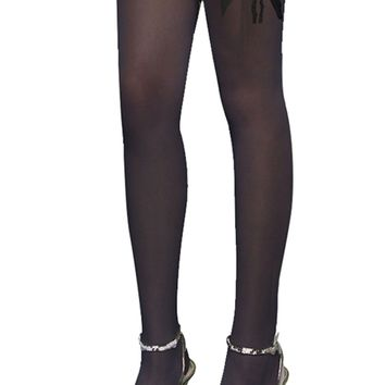 Atomic Black Thigh High Stockings with Bow And Lace