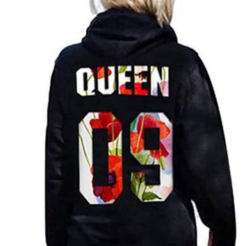 Back Letter Print Queen King Hooded Lover¡¯s Hoodie