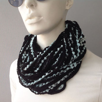 Black Chunky Scarf with Pom Poms, gift for her