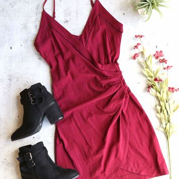 Free People Dylan Burgundy Red Wrap Bodycon Mini Slip Dress