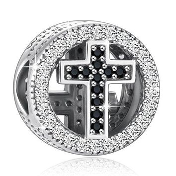 925 Sterling Silver CZ Cross Charmsquot With God All Things Are Possiblequot Fit European Snake Bracelets