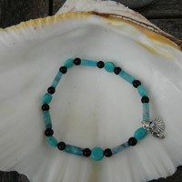 "Turquoise Jasper and Howlite Anklet  """"Free Worldwide Shipping"""""