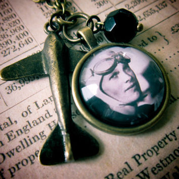 Steampunk Amelia Earhart Necklace  Aviation Plane by DubiousDesign