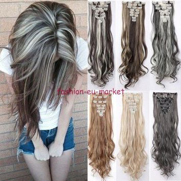 100% Natural Clip in Hair Extensions 8 Pieces Full Head Long New as Human Hair