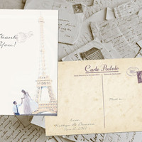 "50 Wedding Thank You Cards - Paris Vintage Photo Personalized 4""x6"""