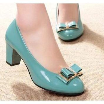 Turquoise Patent Leather Low Heel Rhinestone Bow Pumps