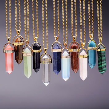 Natural Stone Bullet Shape Healing Necklaces