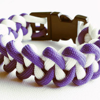 Paracord Bracelet- Para-Band- Paracord Survival Bracelet- Camping Gear- 550 paracord- Military Bracelet- Purple & White- Gifts for Him/Her