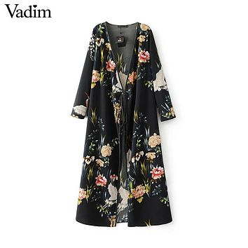 Women flower crane print maxi wrap dress long sleeve vintage bird pattern long loose dresses Vestidos QZ2761
