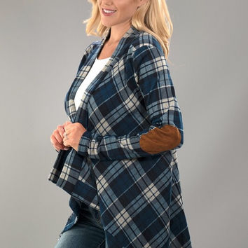 Plaid Cardigan with Elbow Patches - Blue