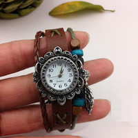 Leather Watch / Bracelet Watch / Leather Bracelet Watch / Leaf Pendant