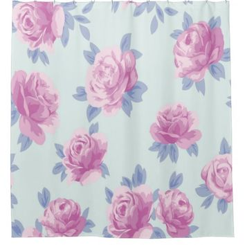 pink roses on mint,shabby chic,victorian,beautiful shower curtain
