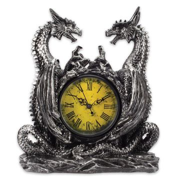 Twin Evil Dragons Antiqued Mantel Clock Table Desk