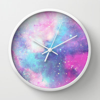 Galaxy Wall Clock by Pink Berry Pattern
