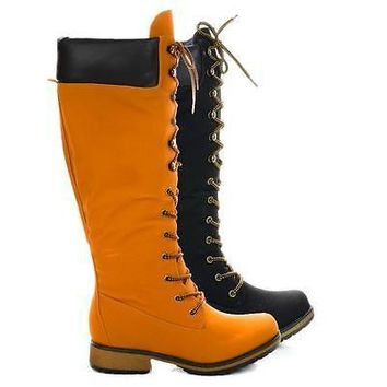 Lauren02 Black By Nature Breeze, Military Combat Calf High Boots w Padded Collar & Threaded Sole