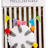 Hello Shiso Rainbow Pompom Hair Clips (6-Pack)