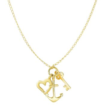 "14k Yellow Gold Key Anchor And Heart Charms On 18"" Necklace"