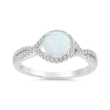 Sterling Silver Round Created White Opal Halo Twist Cubic Zirconia Ring