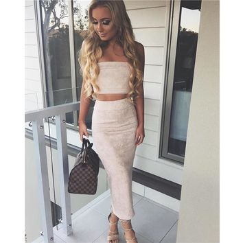 Sexy Crop Top and Skirt Set Suede Two Piece Set 2017 Spring 2 Piece Set Women Strapless Cropped Tops Pencil Skirt Long Women Set