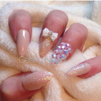 bridesmaid nails, nude nails, false nails, bridal nails, prom nails, elegant nails, classy nails, handpainted nails. Glitter nails,