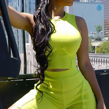 Lover Girl Neon Green Sleeveless Scoop Neck Crop Top Biker Short Two Piece Bodycon Romper Set