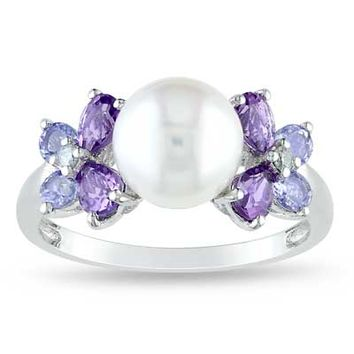 8.0 - 8.5mm Cultured Freshwater Pearl, Amethyst and Tanzanite Ring in Sterling Silver with Diamond Accents