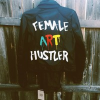 Female Art Hustler leather jacket.