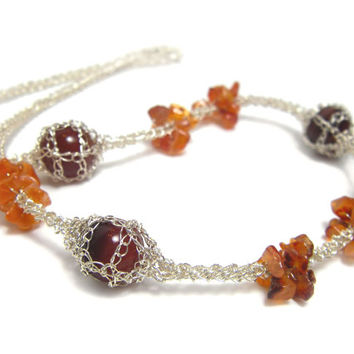 Choker Necklace Crochet Wire Beaded Necklace Orange Brick Carnelian Silver Handmade Original by FestiJe