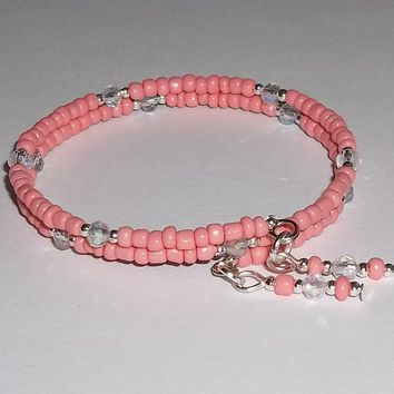 Peach Glass Bead & Clear Swarovski Crystal Silver Artisan Crafted Wrap Bangle Bracelet