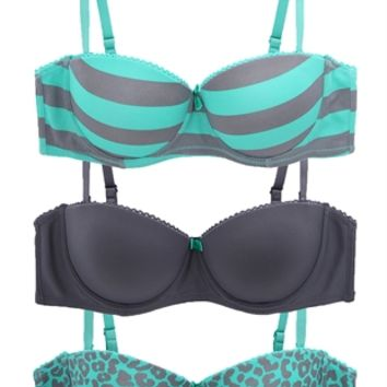 Pack of Three Bras with Cheetah Print and Stripes