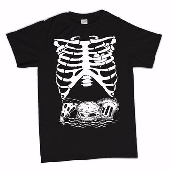 Skeleton Rib With Pizza Burger And Beer T-Shirts - Men's Crew Neck Novelty Top Tee