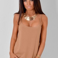 Geonna Camel Vest Top | Pink Boutique