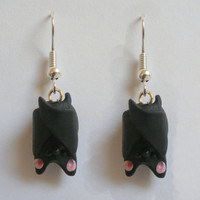 Hanging Bat Halloween Earrings - Miniature Food Jewellery,Mini Food Jewelry,Handmade Jewelry,Halloween Earrings, Kawaii