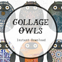 Collage Owl Art Instant Digital Download for Scrapbooking, Journaling, and more! Owl Download, Owl Clipart, Woodland Download.