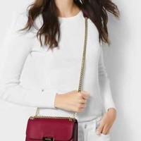 Michael Kors Sloan Editor Medium Chain Shoulder Bag(red)