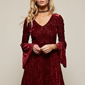 Into The Night Velvet Dress - Burgundy