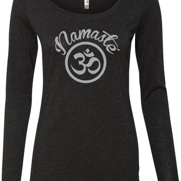 Womens Yoga T-shirt Namaste Om Lightweight Long Sleeve